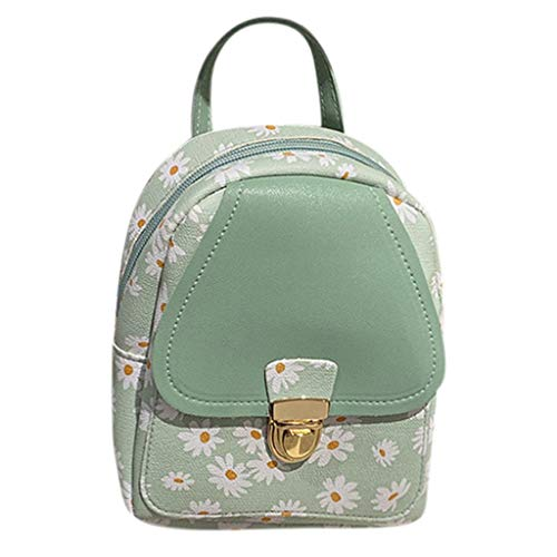 Gofodn Mini Girls Backpack Womens Small Simple Solid Double Zipper Personality Headphone Plug Metal Button Travel Shoulder Ladies Bags (17cmx6cmx21cm, Shoulders Flowers Green)