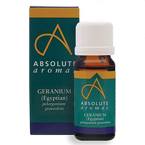 Absolute Aromas Huile Essentielle de Géranium Égyptien 10 ml - 100% Pure, Naturelle, Non Diluée, Vegane et Sans Cruauté - Pour une utilisation dans les Diffuseurs et les Mélanges d'Aromathérapie