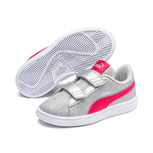PUMA Mädchen Sneaker Smash v2 Glitz Glam V PS 367378 Silver NRGY Rose Gray Violet 35