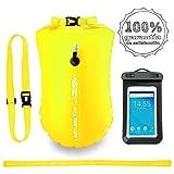 LimitlessXme Boya De Natación Amarilla con Bolsa Seca Plus Bolsillo Impermeable Celular. Visibilidad y Seguridad al Nadar en el mar y en el Lago