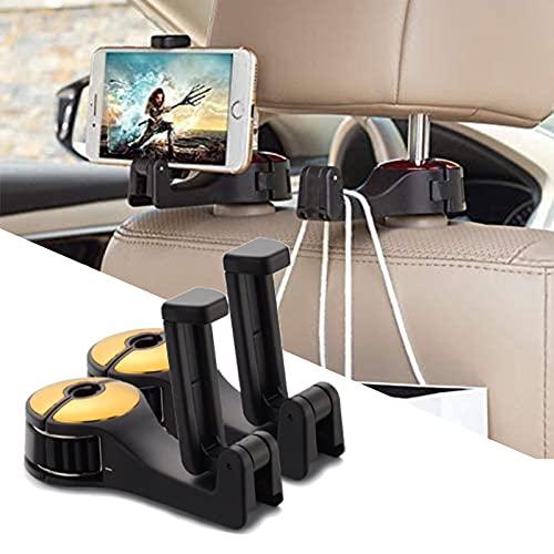 MONALA Gancho para reposacabezas de coche, soporte para asiento trasero, soporte para teléfono móvil, capacidad de carga, 10 kg, 12 x 5,5 x 2,6 cm (2 paquetes de oro)