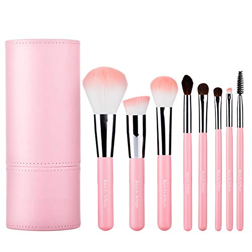 FSGD Maquillage Pinceaux, 8 Maquillage Piece Brosses Haut de Gamme synthétique Kabuki Fondation Fard à Joues Blending Visage Brosses Kit avec Sac cosmétique,Rose