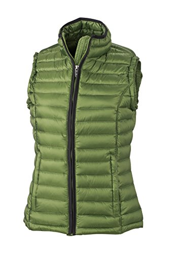 JAMES & NICHOLSON Daunenweste Ladies Quilted Down Vest Blouson, Rouge (Jungle Green/Black), (Taille Fabricant: Medium) Femme