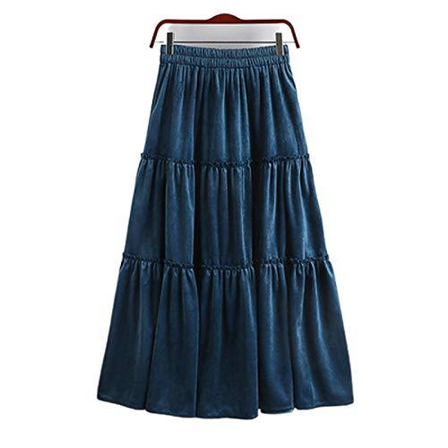 Dresses - Falda plisada de cintura alta, falda de otoño invierno dorada, terciopelo medio, volantes gruesos, cálidos azul oscuro Talla única