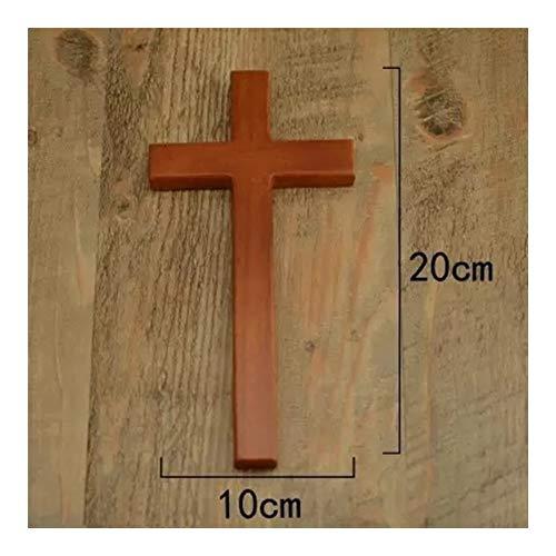 Cruz pequeña de roble de Jesús de la iglesia con cruz cristiana, de madera, para colgar en la pared, decoración del hogar, accesorios para decoración del hogar, crucifijo (color: cruz de roble)