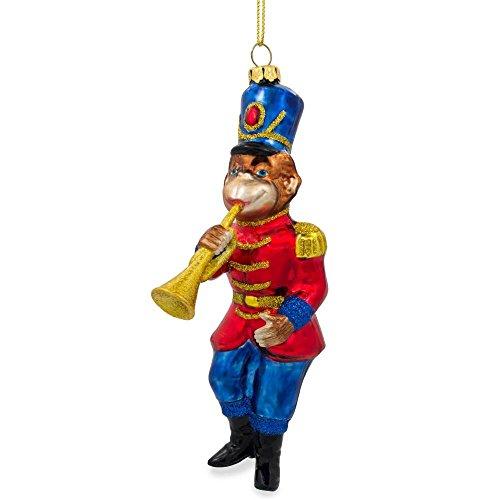 BestPysanky Monkey Nutcracker with Trumpet Glass Christmas Ornament 6 Inches