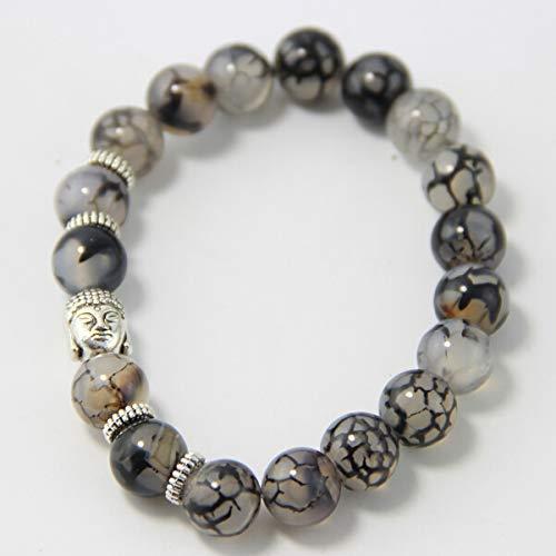 BIJOUX Marmor grau Armband personalisierte Perlen Armband natürliche Vene Naturstein Armband Buddha Kopf für Männer und Frauen Liebhaber, Reisen, Party und geben ihren Freunden das beste Geschenk.
