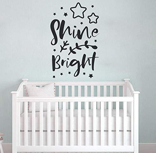 CQAZX Décor de pépinière mignonne, Shine Bright typographie décalque, cadeau de naissance, vinyle pour la chambre de bébé murales bricolage 42 * 65 cm