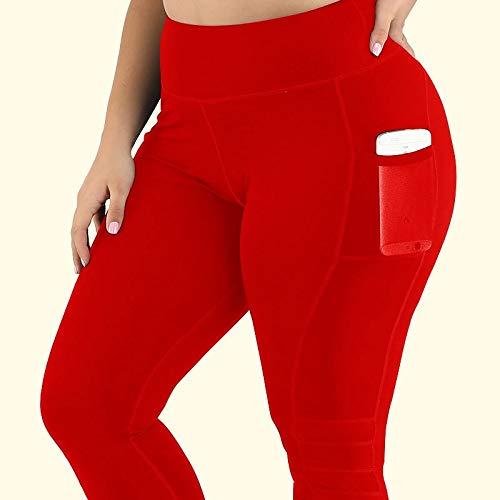 YELLAYBY elástico S-4XL de las mujeres más del tamaño de bolsillo medias pantalones de la yoga de fitness polainas empuja hacia arriba alta cintura vestir de negro de gimnasio Ropa de deporte Run Entr