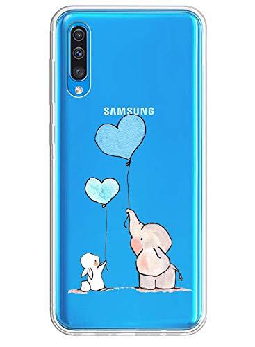 Caler Funda compatible con Samsung Galaxy A50, carcasa de TPU de silicona, transparente, suave y delgada, funda protectora de goma fina y flexible