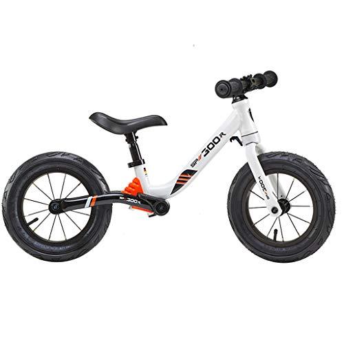 GASLIKE Spingere Bambini Sport Bambino Balance Glider Bici Walking Bicicletta per Boys & Girls 12 Pollici per 18 Mesi 2 3 4 5 Anni per i più Piccoli,Bianca