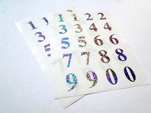 Ivy auto-adhésif Label-Lot de 3 étiquettes - 21 mm 36 holographique Motif chiffres 0–9