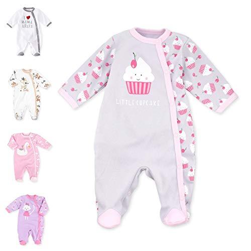 Baby Sweets Baby Strampler mit Füßen für Mädchen/Baby-Overall in Rosa Grau als Schlafanzug und Babystrampler im Cupcake-Design für Neugeborene und Kleinkinder in der Größe: Newborn (56)