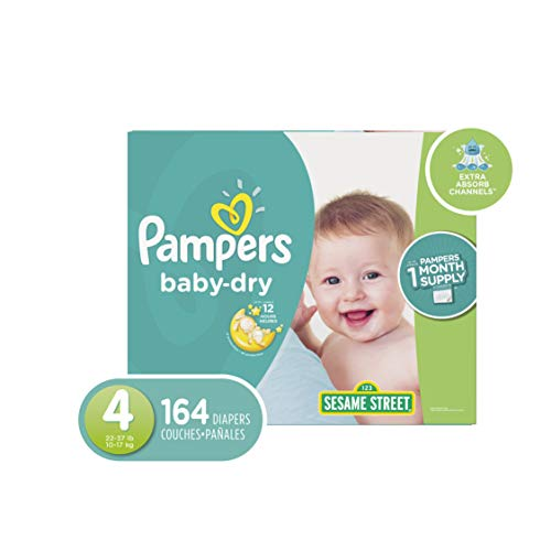 Pampers Baby-Dry Disposable Diapers Size 4, 164 Count, ONE Month Supply