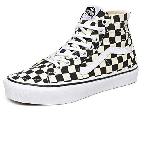 Vans Unisex Checkerboard Sk8 Hi Tapered Men/Women Skate Shoes (Women 9/ Men 7.5, (Checkerboard) Black/True White)