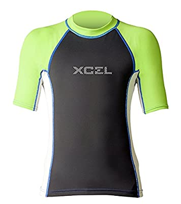 XCEL Boys Kaisers UV Short Sleeve Wetsuit, Ice Grey/Black/Nautical, Size 10