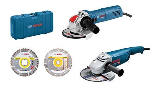 Bosch Professional GWS 22-230 JH + GWX 750-125 - Set amoladoras angulares (incl. 2 discos de corte de diamante, en maletín)