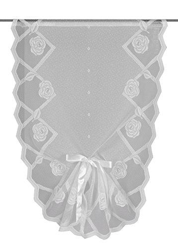 Home fashion 50318-101, Tenda con mantovana a Coda di Rondine, con Passante per Asta, 60 x 40 cm, Jacquard, Bianco