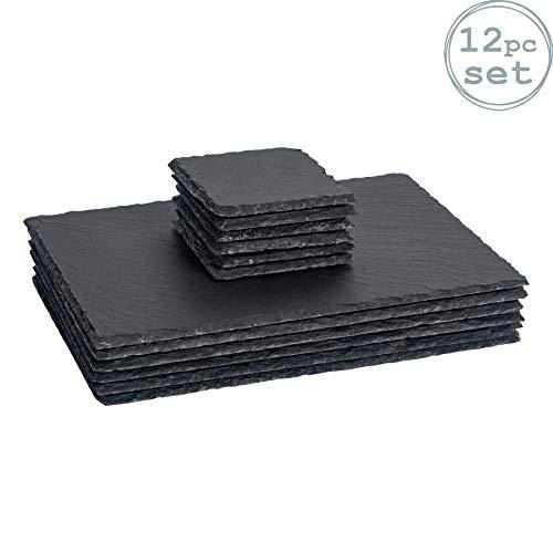 Argon Tableware Quadratische/Rechteckige Schieferplatten - Platzteller-Set - 6 Untersetzer & 6 Platzteller