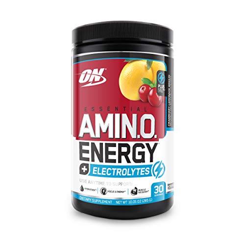 Optimum Nutrition Amino Energy + Electrolytes - Pre Workout, BCAAs, Amino Acids, Keto Friendly, Energy Powder - Cranberry Lemoade Breeze, 30 Servings