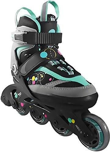 Crivit Sports Kinder Inliner Inline-Skates Softboot Rollerblades (schwarz grau türkis Kreise Gr. 32-36)