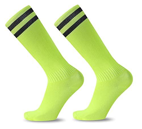 Long Football Socks, Soccer Socks Rugby Socks Stripes Knee High Tube Socks High Elastic Breathable Football Running Sports Socks for Men &Women