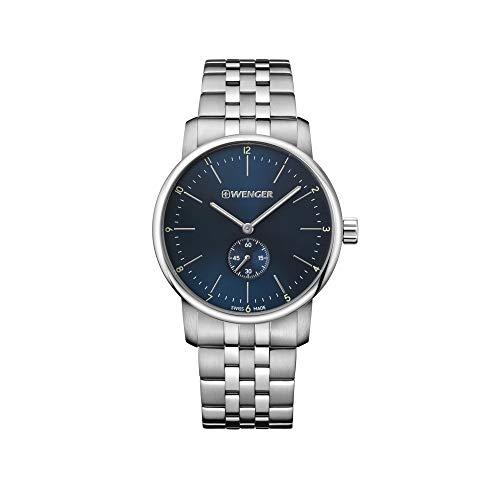 Wenger Hombre Urban Classic - Reloj de Acero Inoxidable de Cuarzo analógico de fabricación Suiza 01.1741.107