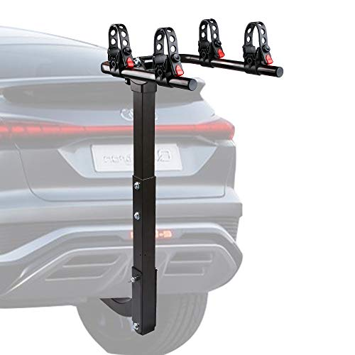 X-BULL 2 Bike Rack Hitch Mount Double Foldable Rack, Hitch Rack Suitable for Cars, Trucks, SUV's, General Purpose Adjustable Frame Adapter and Adjustable Bolt for Spare Tire Racks
