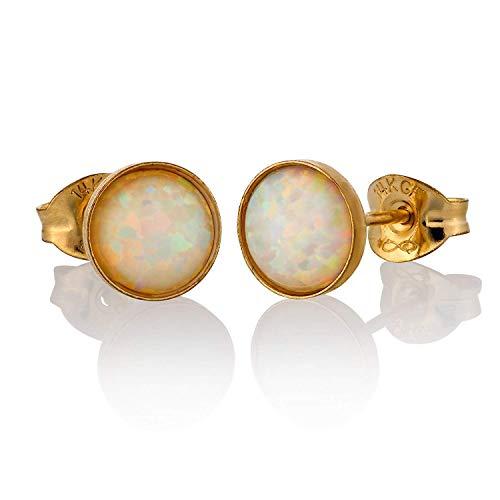 Pendientes de oro para señora círculo redondo Ópalo blanco con la caja Pendientes mujer hechos a mano