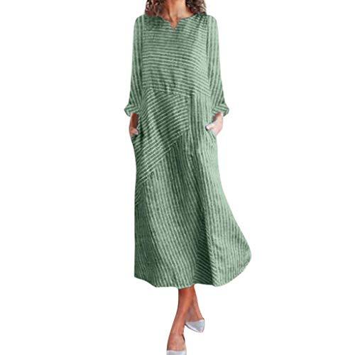 HX fashion Letnie sukienki dla kobiet lniana dekolt w serek codzienna sukienka z długim rękawem sukienki plażowe długie lato z paskami koszula sukienka damska