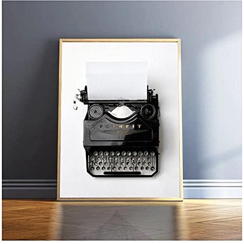 YQQICC Póster de lienzo de máquina de escribir Vintage fotografía en blanco y negro cuadro de arte de pared retro pintura decorativa decoración de oficina regalo-40x60cm sin marco