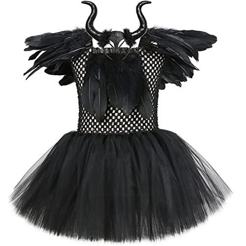 IEFIEL Disfraz de Reina Malvada Nia Vestido de Brujas para Halloween Carnaval Navidad Vestido Diablesa de Fiesta Cosplay Costume W Negro B 7-8 aos