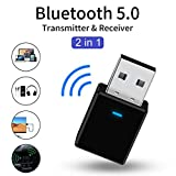 SHOH 2 En 1 USB Bluetooth 5.0 Transmisor Receptor Adaptador De Audio, Mini Receptor Adaptador De Audio Inalámbrico Portátil para PC TV Auriculares Estéreo para El Hogar, Sistema De Transmisión