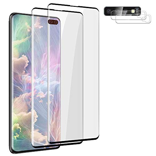 """[2+2 Pack ] Tempered Glass Screen Protector for Samsung Galaxy S10 Plus (6.4"""") Ultrasonic Fingerprint Compatible 9H Hardness, No Bubbles, Anti-Scratch,for Galaxy S10 Plus / S10+ 5G Screen Protector"""