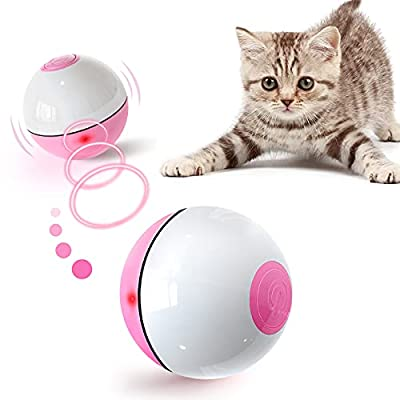 PUHOHUN Interactive Cat Toys Ball with Red LED Light USB Rechargeable Kitten Toys,360 Degree Self-Rotating Ball, Cat Toys for Indoor Pets, Funny Toy for Cats
