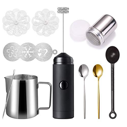 Milk Frother Handheld Latte Art Set - Coffee Frother Electric Handheld, Milk Frother Pitcher, Coffee Shaker, Coffee Stencil, Coffee Spoon, Coffee Scoop, Latte Art Pen