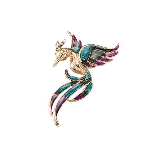 Broche de fénix de aceite que gotea, pájaro animal colorido, ropa de mujer, ramillete de regalo de moda (A)