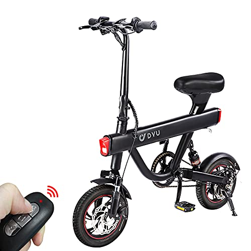 Folding Electric Bike,DYU 12' Electric Bicycle with Remote Start/Lock...