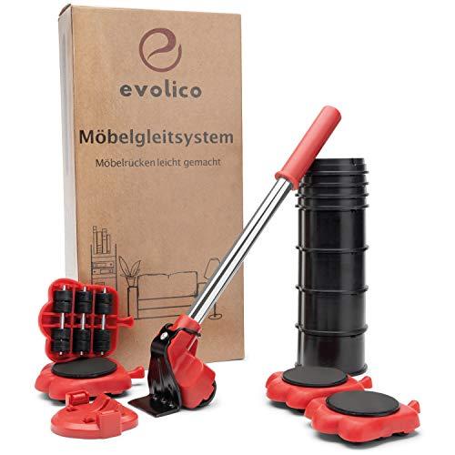 Evolico® Möbelheber und Möbelroller – Kinderleichtes Möbelrücken auch ohne Hilfe – Möbel Transportroller – Extrem belastbar bis 300 kg