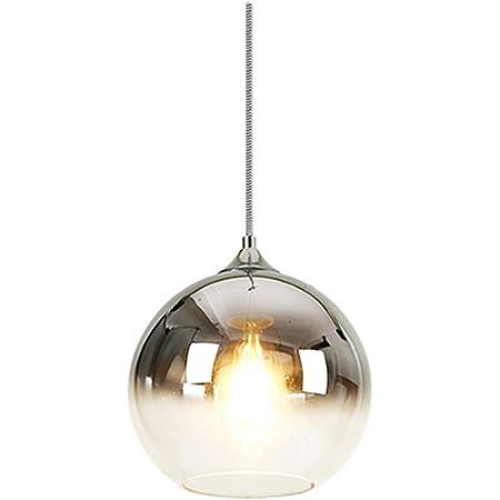 MZStech Lampe à suspension sphérique en verre de couleur dégradée, Suspension Luminaire en verre moderne basée sur des ampoules E27 (Argent, 20CM)