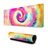 wodealmug Extended Gaming Mouse Pad with Stitched Edges, Larger Mousepad (31.5x11.8In), Desk Pad Keyboard Mat, Non-Slip Base, for Work & Gaming, Office & Home ( Tie-dye )