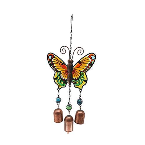 Garneck Windspiel aus Metall, Schmetterling, zum Aufhängen, mit Glocken, für Zuhause, Garten, Flur, Blau, 1 Stück, gelb, UA1331HCISA45TH5