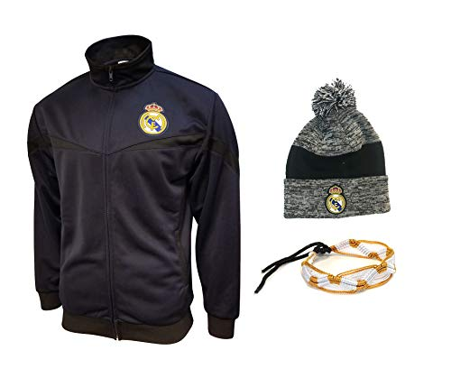 Real Madrid Jacket and Beanie hat Mens New Season Colors Navy Black Grey Navy Men Soccer Official Licensed Winter 2019-20 RM2 (M, RM10 Set 3 PCS)