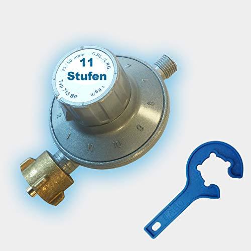 CAGO Gas-Druck-Regler Gasregler verstellbar 11-Stufen-Regler 25-50 mbar regelbar Propan 30 Druckminderer inkl. Gasregler-Schlüssel