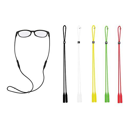 Rpanle Cinturino per Occhiali, 5 Pezzi Cordoncino Regolabile per Occhiali in Silicone, per Attività all'aperto e Sport (Multicolore)