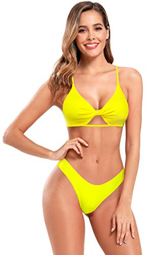 SHEKINI Bañador de Dos Piezas Mujer Halter Cutout Frente Twisted Chic Bikini Top Correa de Hombro Ajustable Triángulo Parte Inferior del Bikini Playa Set (S, Amarillo limón)