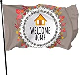 Zikely Saisonfeiertags-Yard-Flaggen-Fahne Decorative House Flags -Welcome Home Fall Outdoor Saisonfeiertags-Yard-Flaggen-Fahne 3x5 Foot