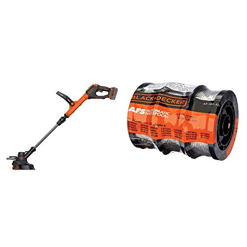 BLACK+DECKER 20V MAX String Trimmer with Trimmer Line, 30-Foot, 0.065-Inch, 3-Pack (LSTE523 & AF-100-3ZP)
