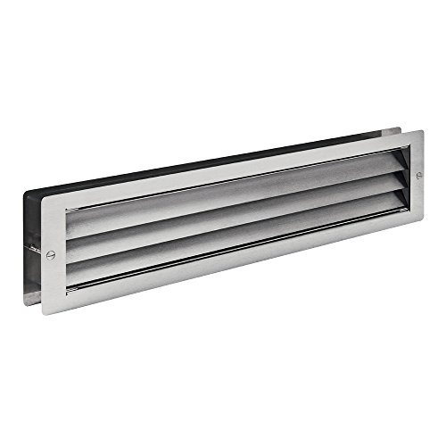 MLS Edelstahl Lüftungsgitter 465 x 106 mm für Türen Abdeckungen Einlegeböden zwischen 37 – 55 mm 0180-300