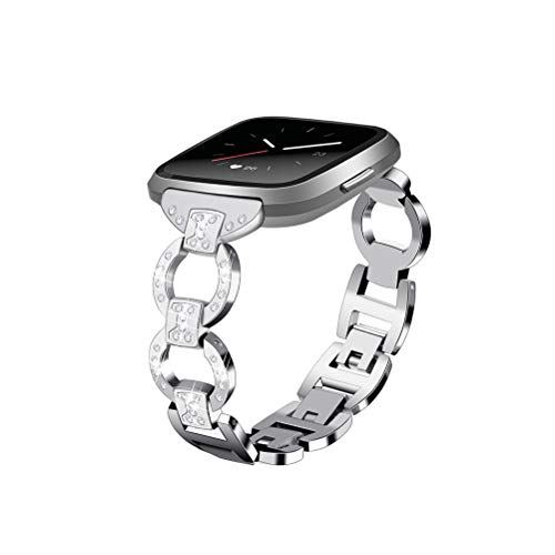 UKCOCO Correa para Fitbit Versa, Luxury Bling Rhinestone Diamonds Mujeres Pulsera de Acero Inoxidable Reloj Inteligente Correa de Repuesto Accesorios para Fitbit Versa Fitness Tracker (Plata)